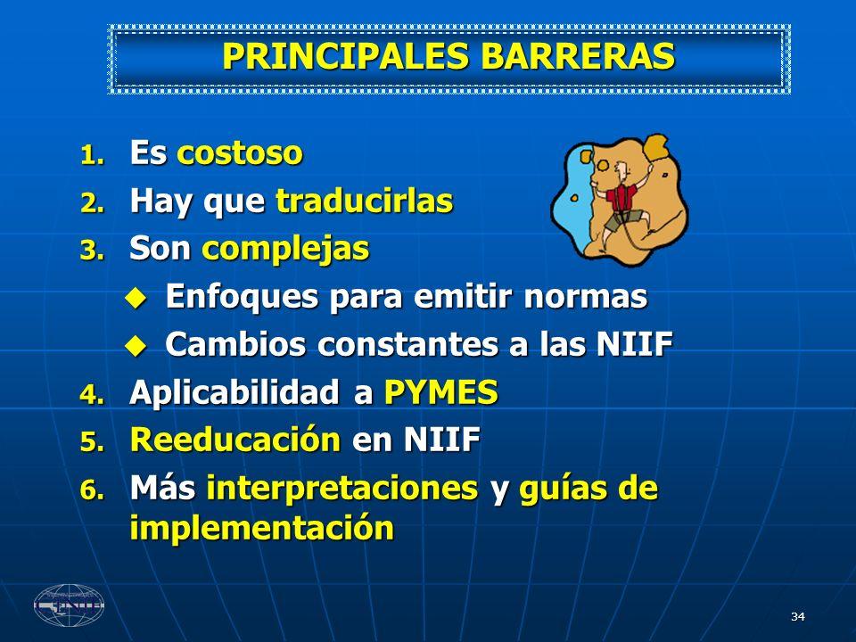 34 PRINCIPALES BARRERAS 1. Es costoso 2. Hay que traducirlas 3. Son complejas Enfoques para emitir normas Enfoques para emitir normas Cambios constant