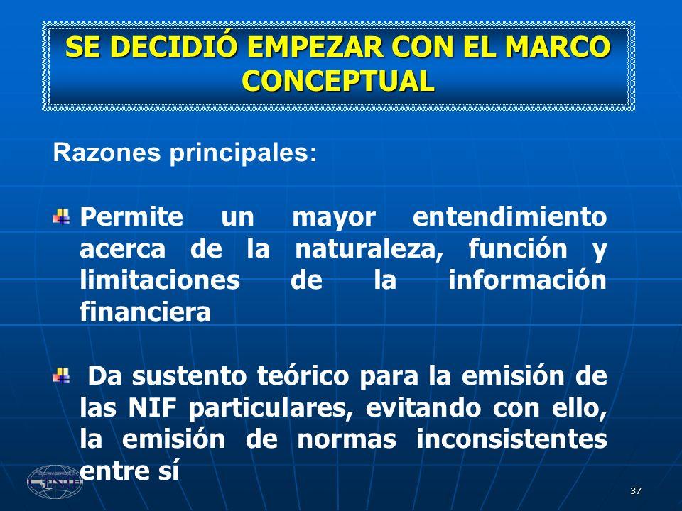 37 SE DECIDIÓ EMPEZAR CON EL MARCO CONCEPTUAL Razones principales: Permite un mayor entendimiento acerca de la naturaleza, función y limitaciones de l