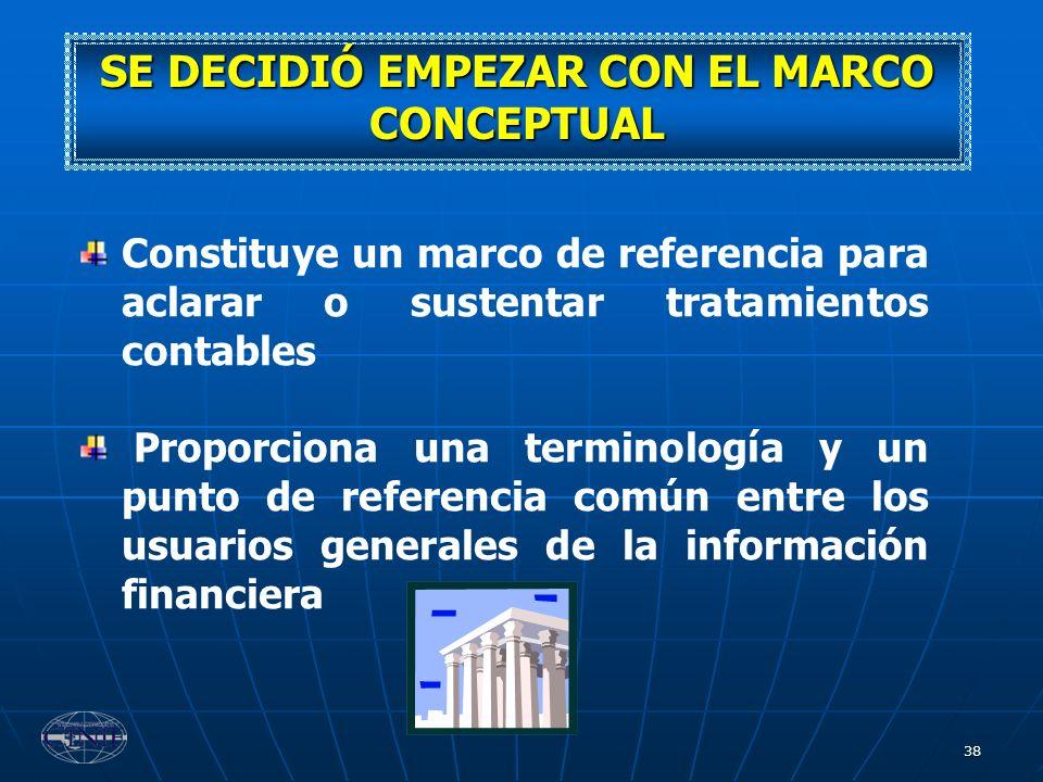 38 SE DECIDIÓ EMPEZAR CON EL MARCO CONCEPTUAL Constituye un marco de referencia para aclarar o sustentar tratamientos contables Proporciona una termin