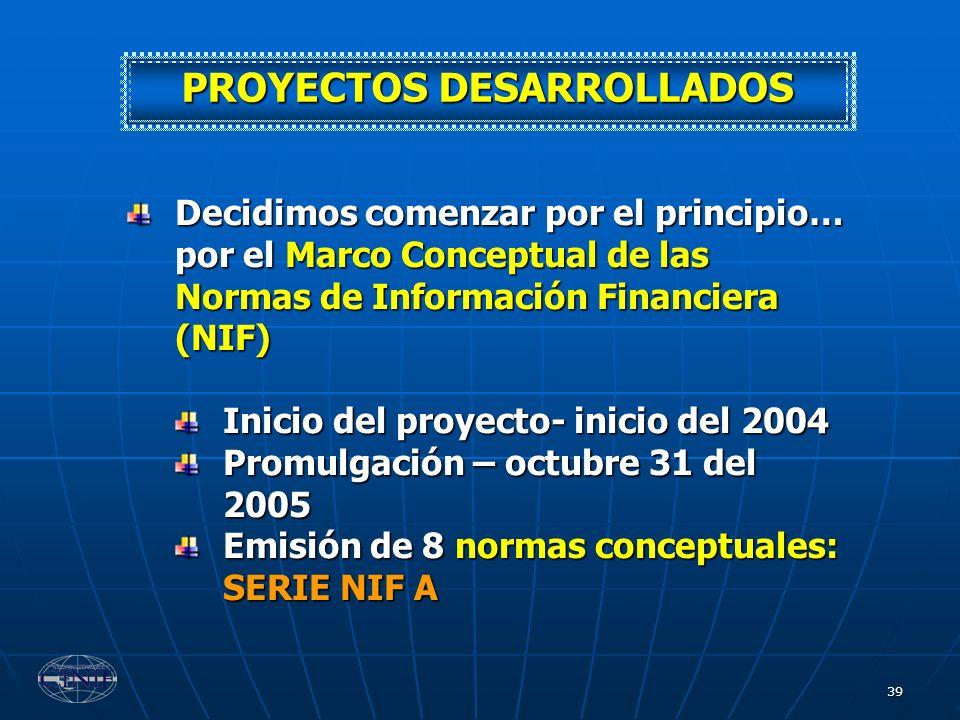 39 Decidimos comenzar por el principio… por el Marco Conceptual de las Normas de Información Financiera (NIF) Inicio del proyecto- inicio del 2004 Pro