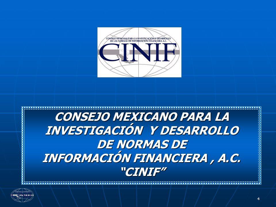 55 Las NIF se conforman de: a) Normas de Información Financiera Conceptuales Marco Conceptual b) Normas de Información Financiera Particulares NIF Particulares c) Interpretaciones a las NIF INIF NORMAS DE INFORMACIÓN FINANCIERA