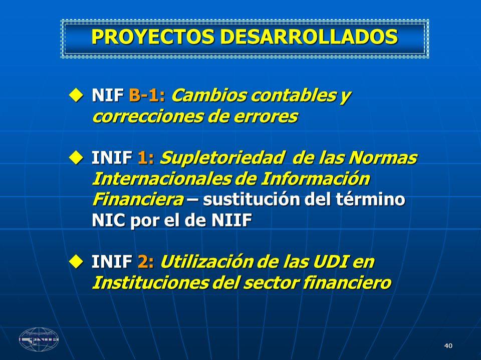 40 NIF B-1: Cambios contables y correcciones de errores NIF B-1: Cambios contables y correcciones de errores INIF 1: Supletoriedad de las Normas Inter