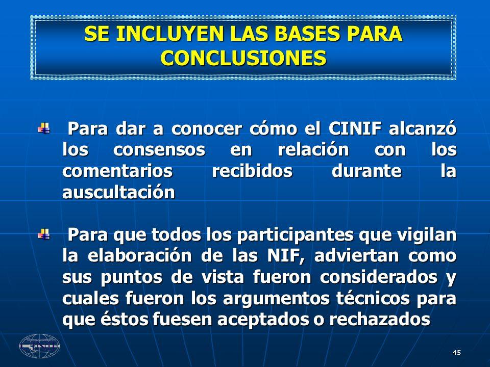 45 SE INCLUYEN LAS BASES PARA CONCLUSIONES Para dar a conocer cómo el CINIF alcanzó los consensos en relación con los comentarios recibidos durante la