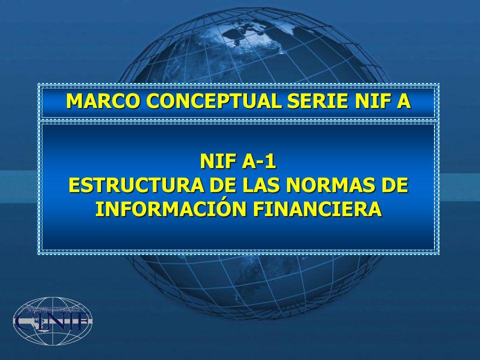 MARCO CONCEPTUAL SERIE NIF A NIF A-1 ESTRUCTURA DE LAS NORMAS DE INFORMACIÓN FINANCIERA