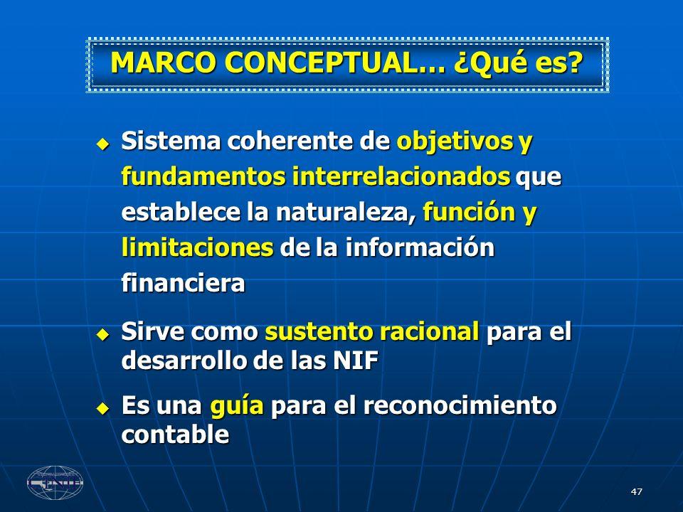 47 Sistema coherente de objetivos y fundamentos interrelacionados que establece la naturaleza, función y limitaciones de la información financiera Sis