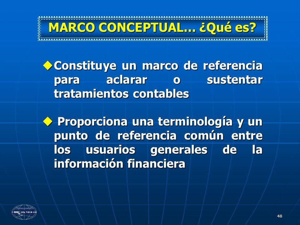 48 Constituye un marco de referencia para aclarar o sustentar tratamientos contables Constituye un marco de referencia para aclarar o sustentar tratam