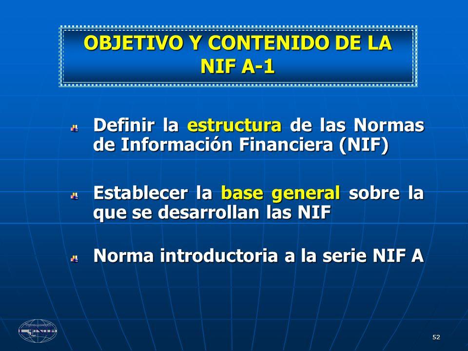 52 Definir la estructura de las Normas de Información Financiera (NIF) Establecer la base general sobre la que se desarrollan las NIF Norma introducto