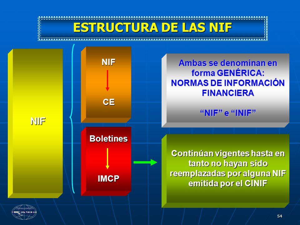 54 NIF NIFCE BoletinesIMCP Ambas se denominan en forma GENÉRICA: NORMAS DE INFORMACIÓN FINANCIERA NIF e INIF Continúan vigentes hasta en tanto no haya