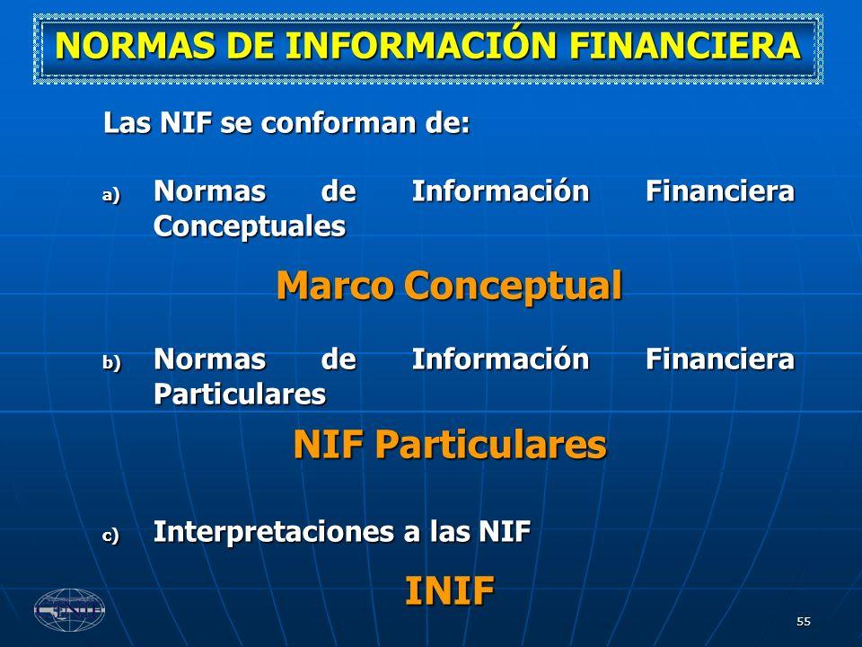 55 Las NIF se conforman de: a) Normas de Información Financiera Conceptuales Marco Conceptual b) Normas de Información Financiera Particulares NIF Par