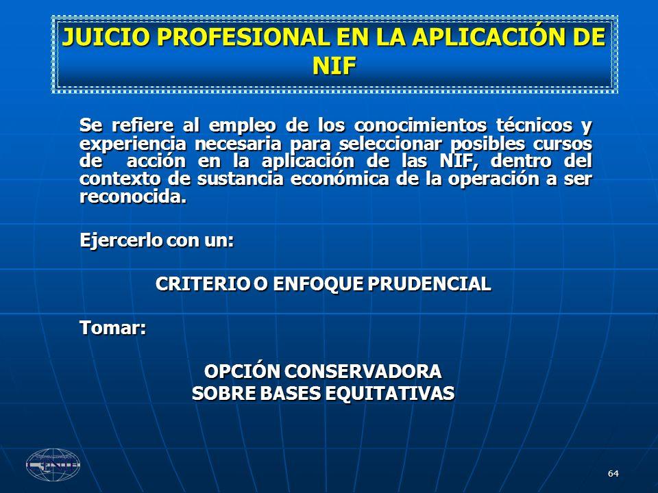 64 Se refiere al empleo de los conocimientos técnicos y experiencia necesaria para seleccionar posibles cursos de acción en la aplicación de las NIF,