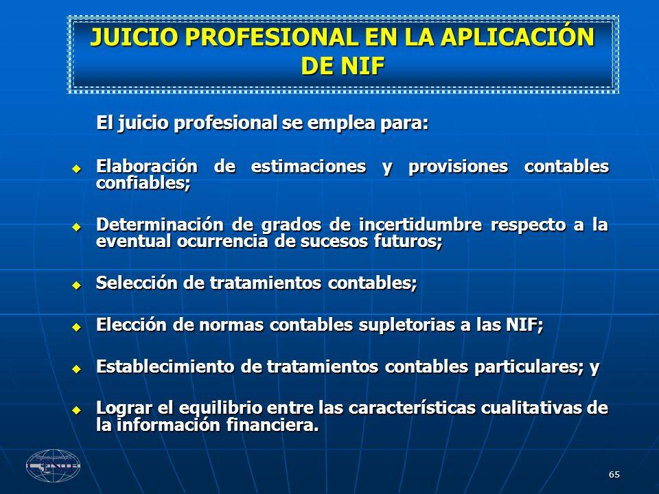 65 El juicio profesional se emplea para: Elaboración de estimaciones y provisiones contables confiables; Elaboración de estimaciones y provisiones con