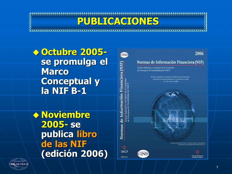 7 Octubre 2005- se promulga el Marco Conceptual y la NIF B-1 Octubre 2005- se promulga el Marco Conceptual y la NIF B-1 Noviembre 2005- se publica lib