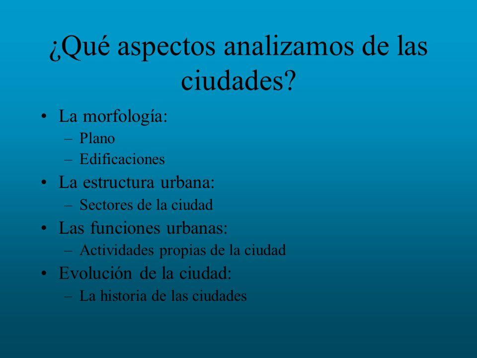 ¿Qué aspectos analizamos de las ciudades? La morfología: –Plano –Edificaciones La estructura urbana: –Sectores de la ciudad Las funciones urbanas: –Ac