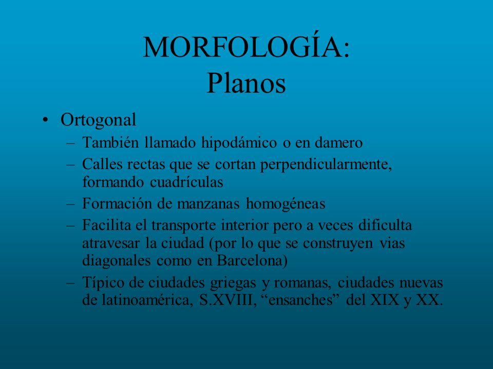 MORFOLOGÍA: Planos Ortogonal –También llamado hipodámico o en damero –Calles rectas que se cortan perpendicularmente, formando cuadrículas –Formación