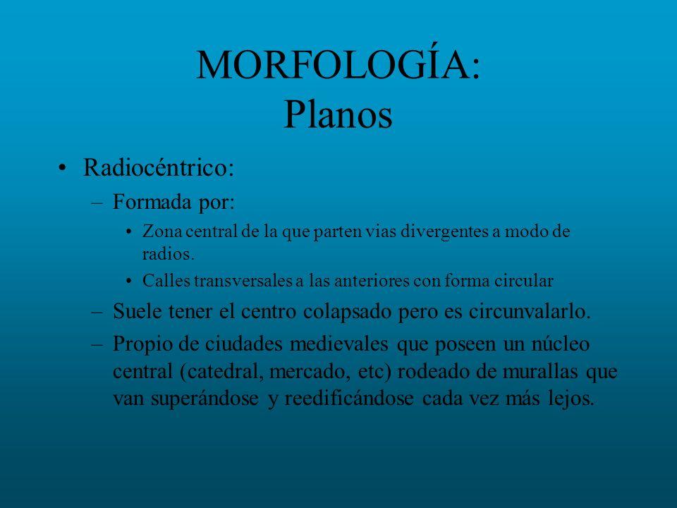 MORFOLOGÍA: Planos Radiocéntrico: –Formada por: Zona central de la que parten vias divergentes a modo de radios. Calles transversales a las anteriores