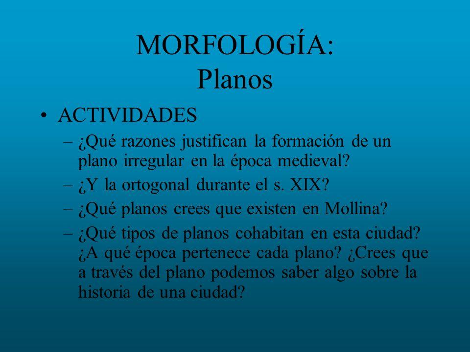 MORFOLOGÍA: Planos ACTIVIDADES –¿Qué razones justifican la formación de un plano irregular en la época medieval? –¿Y la ortogonal durante el s. XIX? –