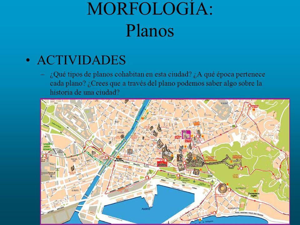 MORFOLOGÍA: Planos ACTIVIDADES –¿Qué tipos de planos cohabitan en esta ciudad? ¿A qué época pertenece cada plano? ¿Crees que a través del plano podemo