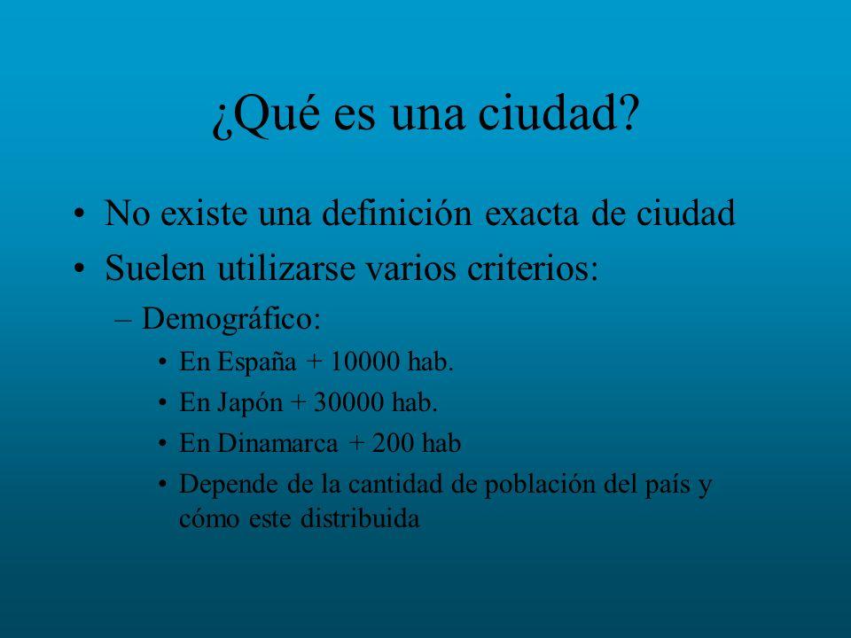 ¿Qué es una ciudad? No existe una definición exacta de ciudad Suelen utilizarse varios criterios: –Demográfico: En España + 10000 hab. En Japón + 3000