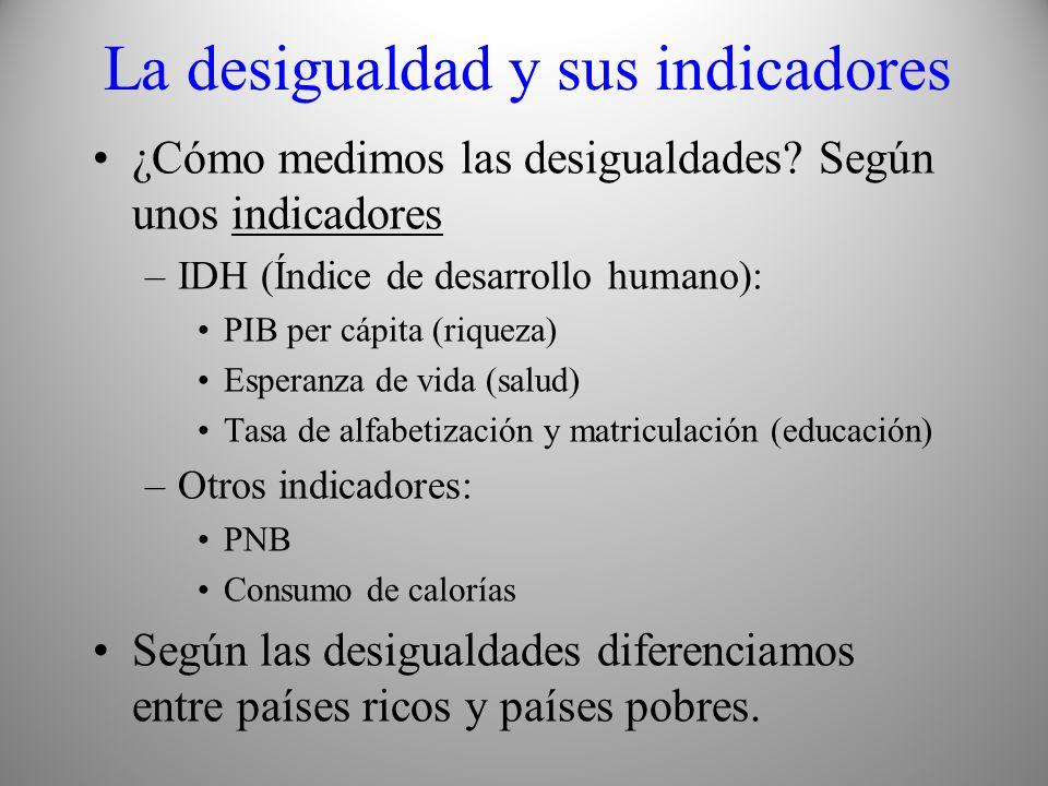 La desigualdad y sus indicadores ¿Cómo medimos las desigualdades? Según unos indicadores –IDH (Índice de desarrollo humano): PIB per cápita (riqueza)