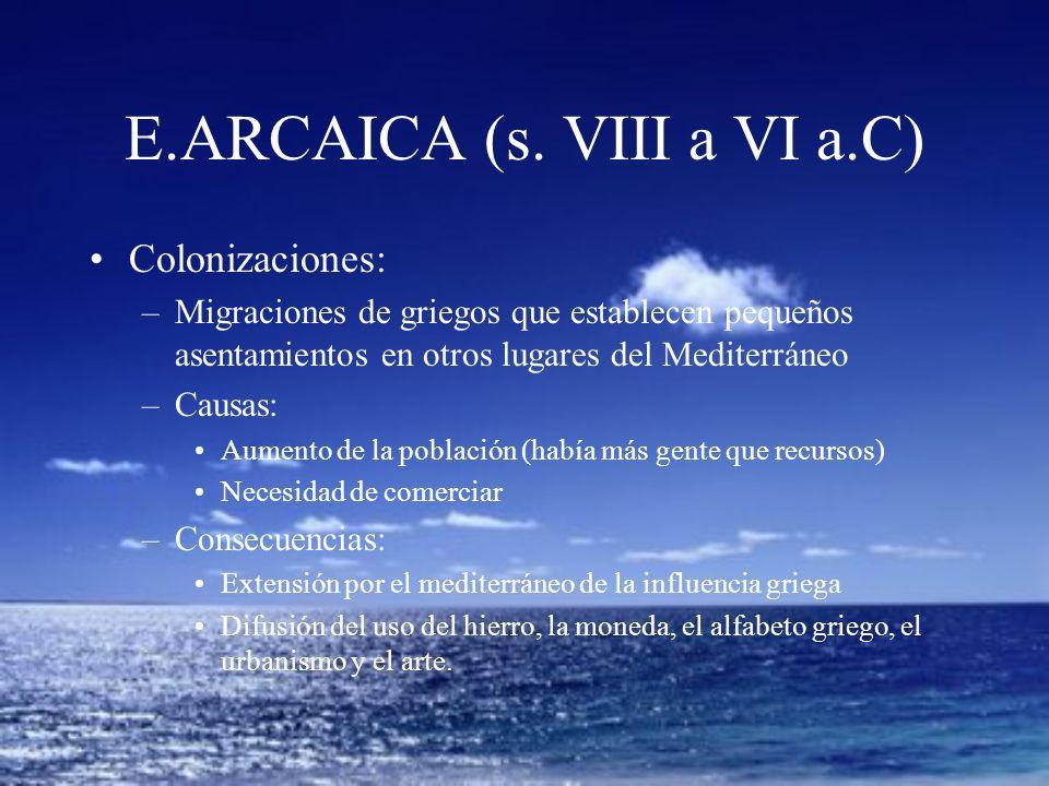 E.ARCAICA (s. VIII a VI a.C) Colonizaciones: –Migraciones de griegos que establecen pequeños asentamientos en otros lugares del Mediterráneo –Causas: