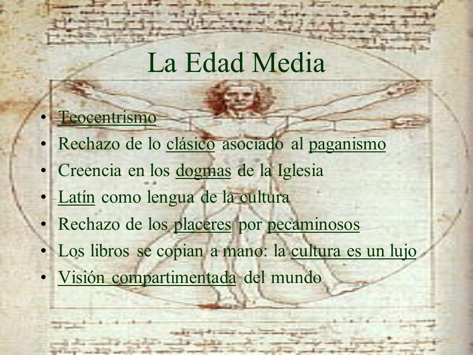 La Edad Media Teocentrismo Rechazo de lo clásico asociado al paganismo Creencia en los dogmas de la Iglesia Latín como lengua de la cultura Rechazo de