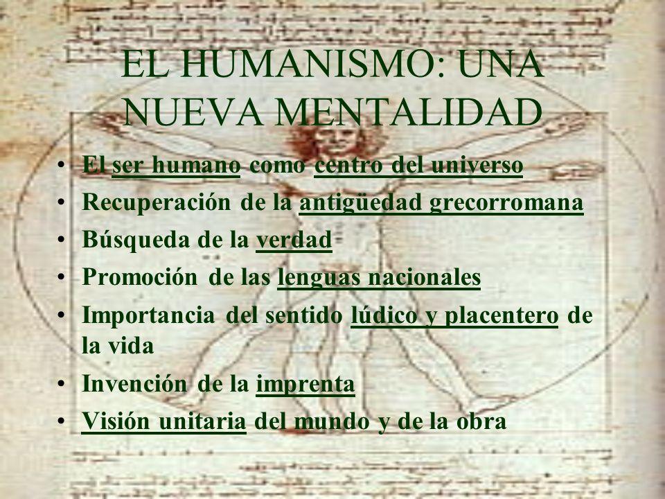 EL HUMANISMO: UNA NUEVA MENTALIDAD El ser humano como centro del universo Recuperación de la antigüedad grecorromana Búsqueda de la verdad Promoción d