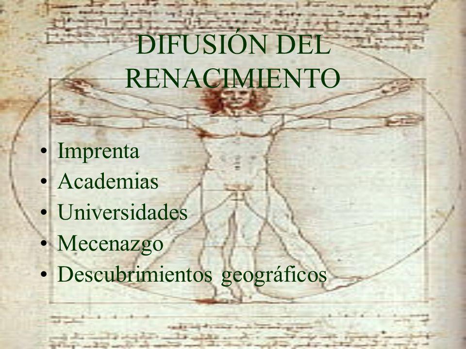 DIFUSIÓN DEL RENACIMIENTO Imprenta Academias Universidades Mecenazgo Descubrimientos geográficos