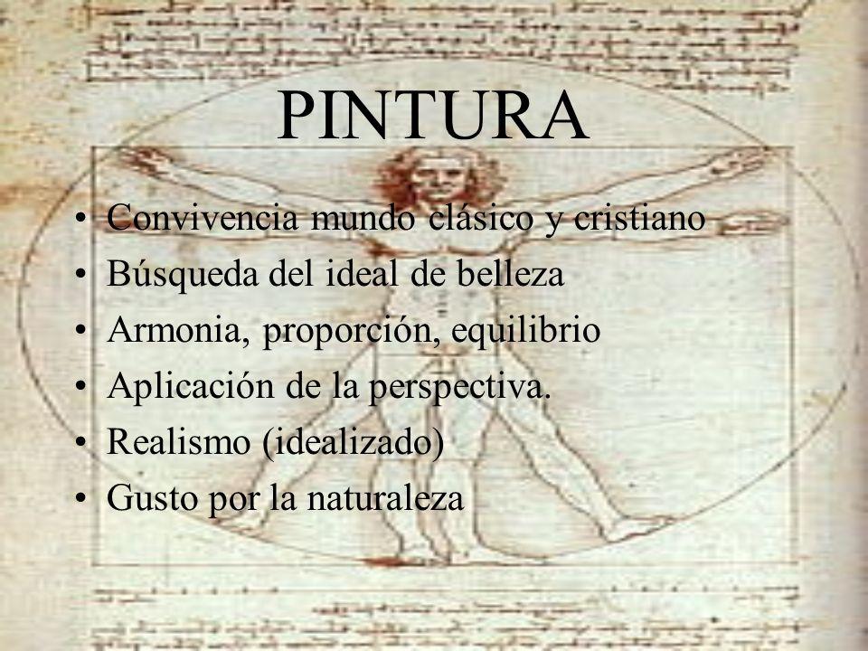PINTURA Convivencia mundo clásico y cristiano Búsqueda del ideal de belleza Armonia, proporción, equilibrio Aplicación de la perspectiva. Realismo (id