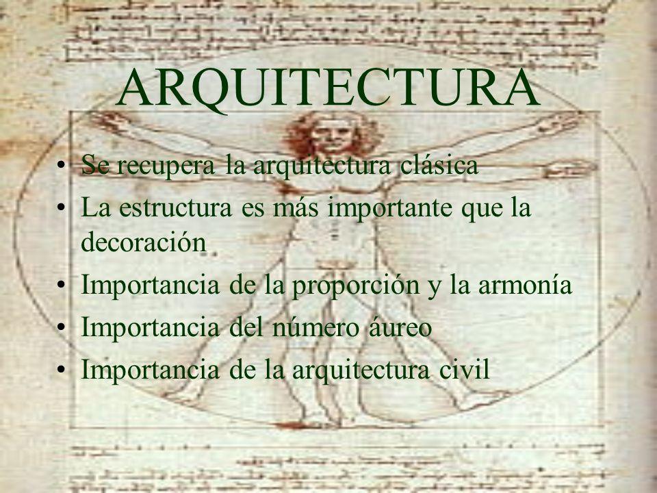 ARQUITECTURA Se recupera la arquitectura clásica La estructura es más importante que la decoración Importancia de la proporción y la armonía Importanc