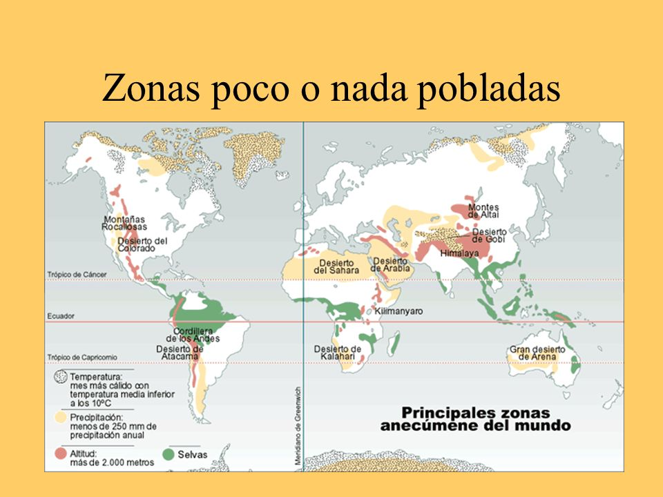 Zonas poco o nada pobladas