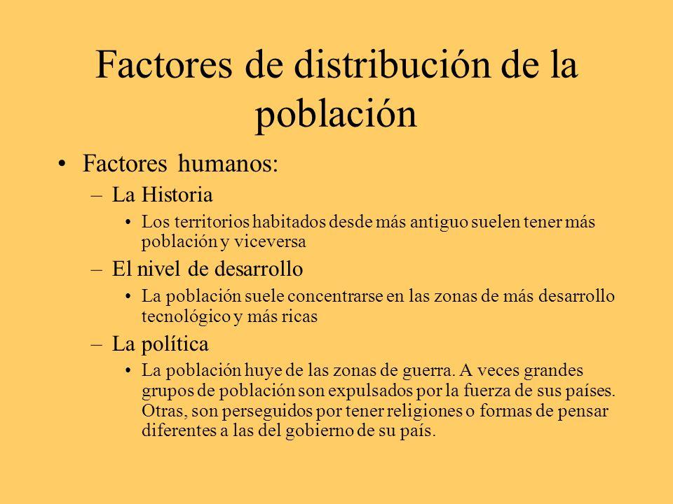 Factores de distribución de la población Factores humanos: –La Historia Los territorios habitados desde más antiguo suelen tener más población y vicev