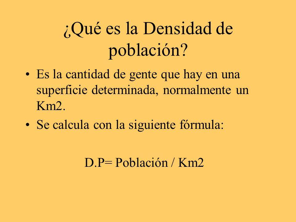 ¿Qué es la Densidad de población? Es la cantidad de gente que hay en una superficie determinada, normalmente un Km2. Se calcula con la siguiente fórmu