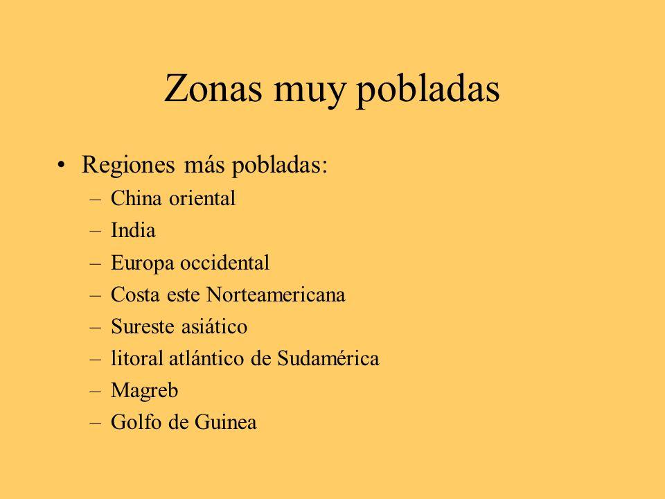 Zonas poco pobladas Las regiones poco pobladas o sin población son: –Las zonas polares (N-S) Polos, Groenlandia, Siberia...