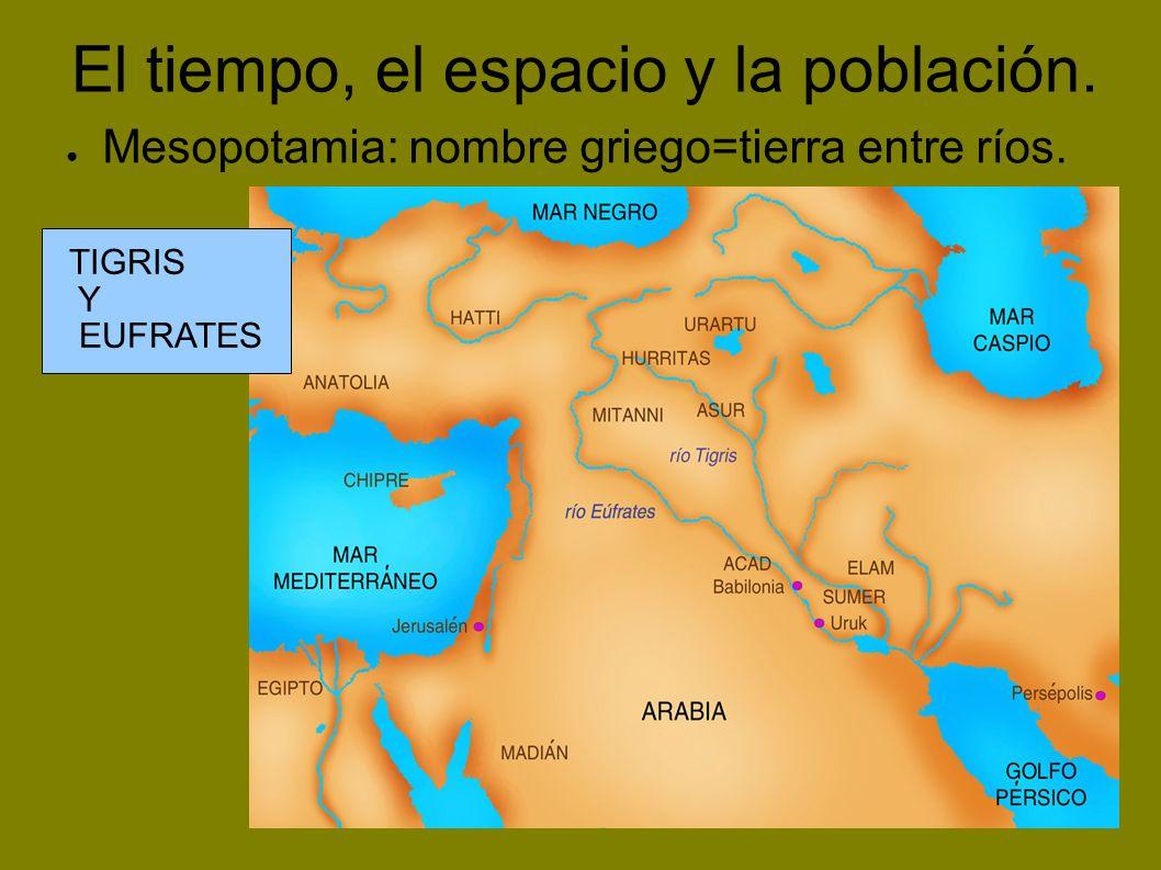 El tiempo, el espacio y la población. Mesopotamia: nombre griego=tierra entre ríos. TIGRIS Y EUFRATES