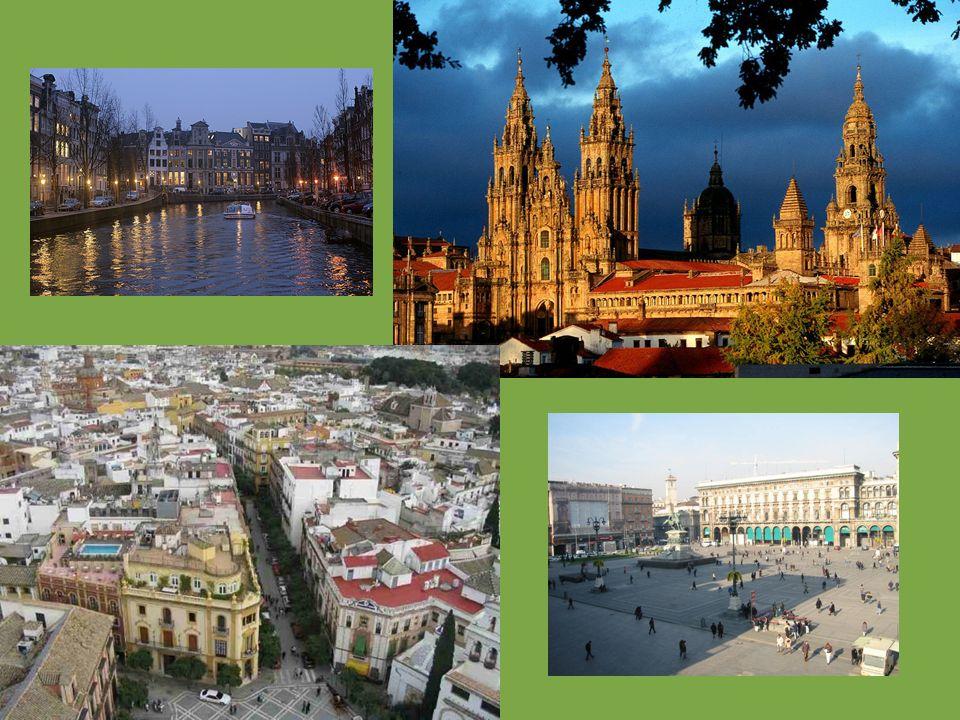 Centros históricos En ciudades con extenso pasado histórico Alta concentración de edificios históricos, monumentales y singulares. Pequeños comercios