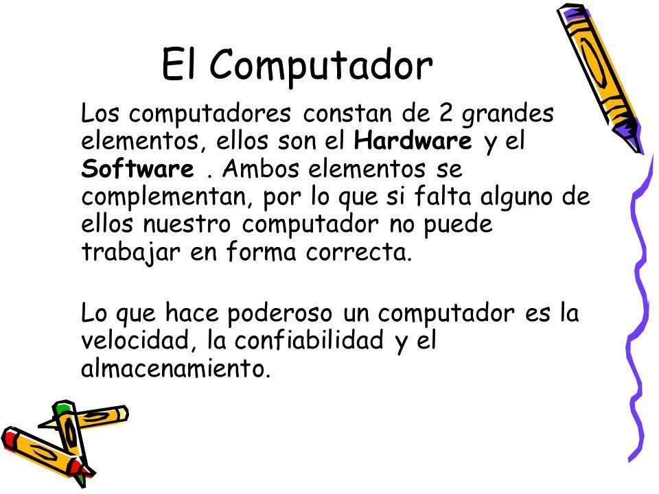 El Computador Los computadores constan de 2 grandes elementos, ellos son el Hardware y el Software. Ambos elementos se complementan, por lo que si fal