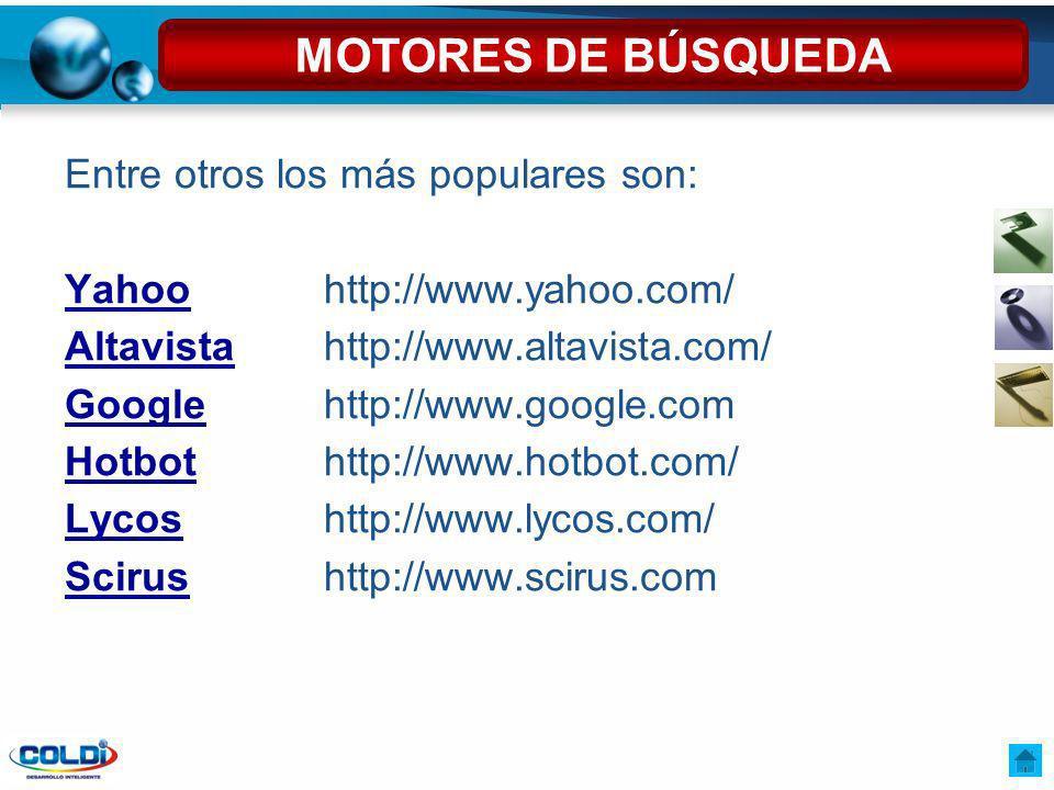 Entre otros los más populares son: YahooYahoohttp://www.yahoo.com/ AltavistaAltavistahttp://www.altavista.com/ GoogleGooglehttp://www.google.com Hotbo