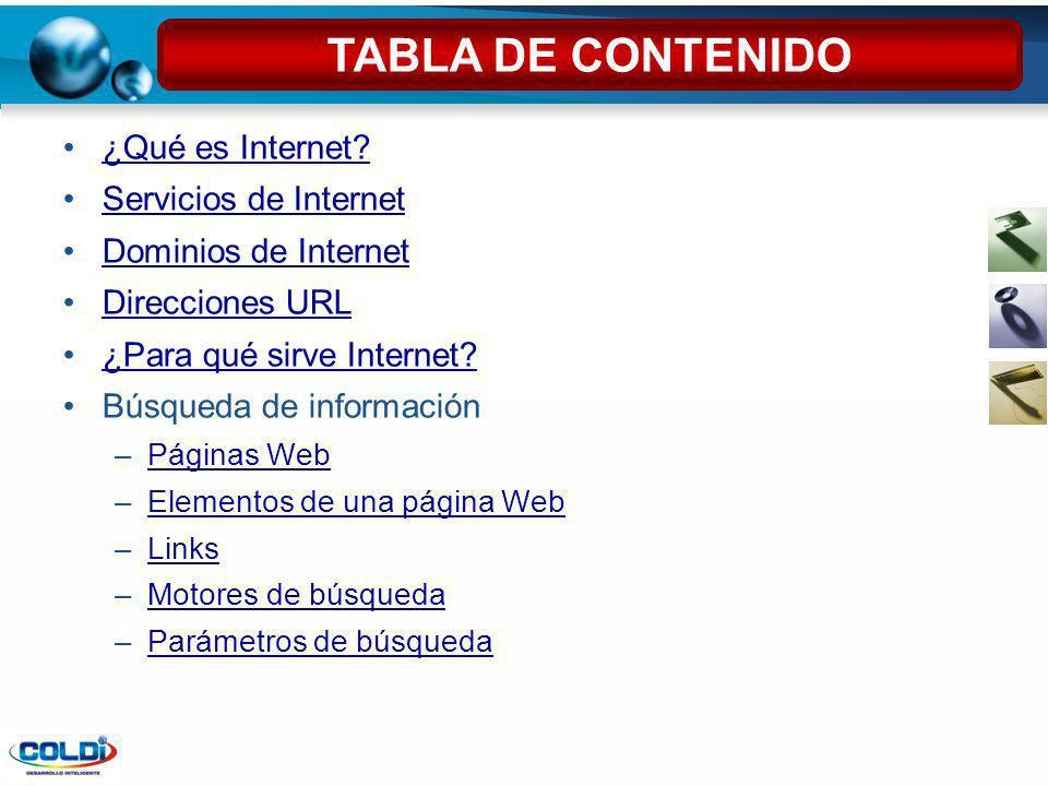 ¿Qué es Internet? Servicios de Internet Dominios de Internet Direcciones URL ¿Para qué sirve Internet? Búsqueda de información –Páginas WebPáginas Web
