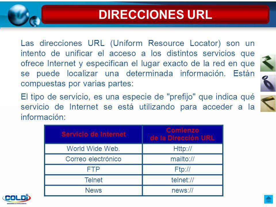 Las direcciones URL (Uniform Resource Locator) son un intento de unificar el acceso a los distintos servicios que ofrece Internet y especifican el lug