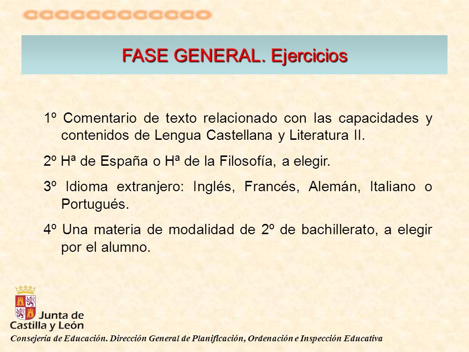 Consejería de Educación. Dirección General de Planificación, Ordenación e Inspección Educativa FASE GENERAL. Ejercicios 1º Comentario de texto relacio