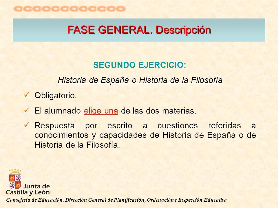 Consejería de Educación. Dirección General de Planificación, Ordenación e Inspección Educativa FASE GENERAL. Descripción SEGUNDO EJERCICIO: Historia d
