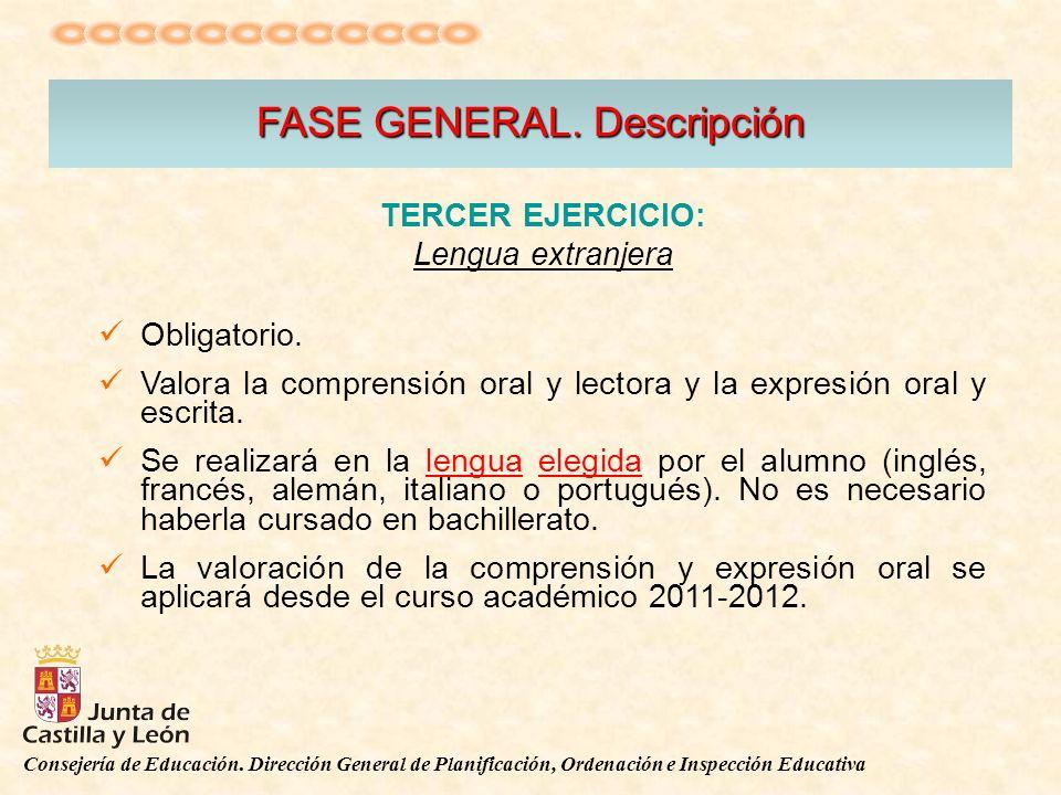 Consejería de Educación. Dirección General de Planificación, Ordenación e Inspección Educativa FASE GENERAL. Descripción TERCER EJERCICIO: Lengua extr