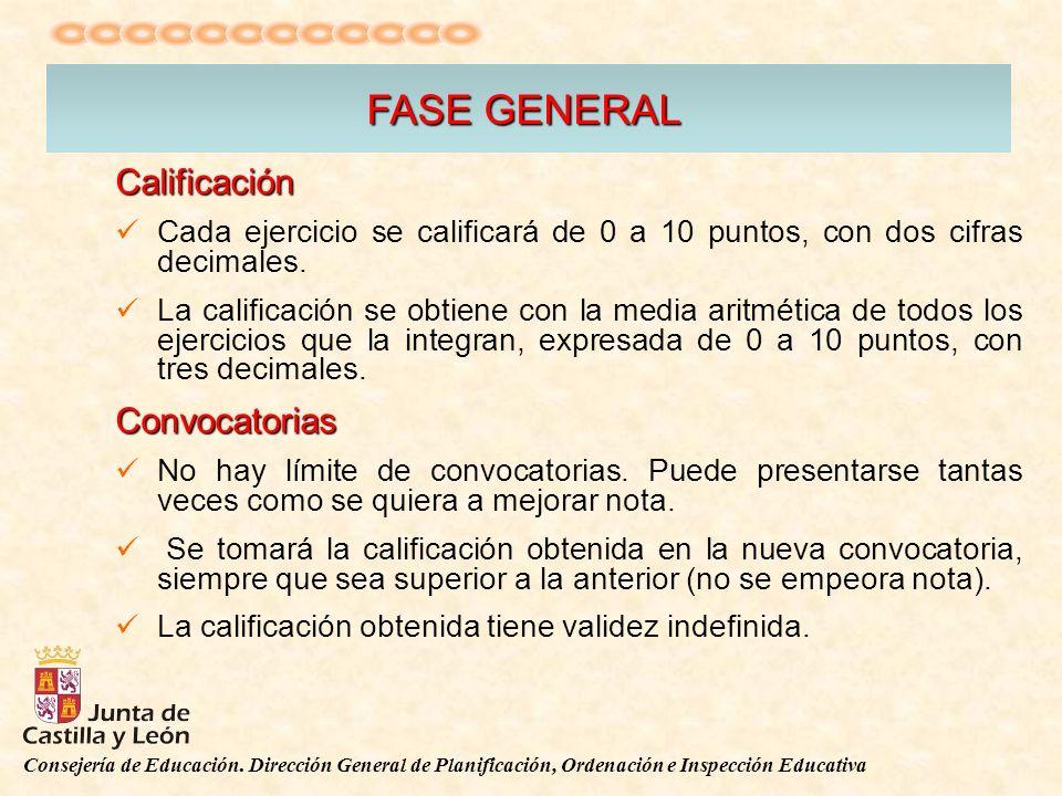 Consejería de Educación. Dirección General de Planificación, Ordenación e Inspección Educativa FASE GENERAL Calificación Cada ejercicio se calificará