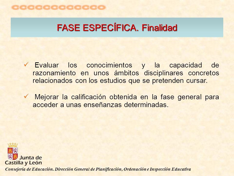 Consejería de Educación. Dirección General de Planificación, Ordenación e Inspección Educativa FASE ESPECÍFICA. Finalidad Evaluar los conocimientos y