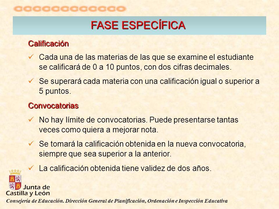 Consejería de Educación. Dirección General de Planificación, Ordenación e Inspección Educativa FASE ESPECÍFICA Calificación Cada una de las materias d