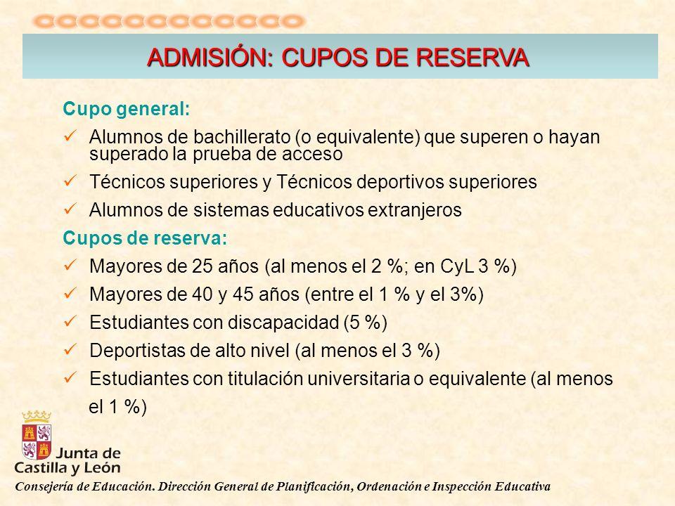 Consejería de Educación. Dirección General de Planificación, Ordenación e Inspección Educativa ADMISIÓN: CUPOS DE RESERVA Cupo general: Alumnos de bac