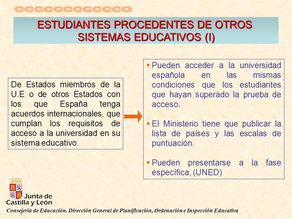 Consejería de Educación. Dirección General de Planificación, Ordenación e Inspección Educativa ESTUDIANTES PROCEDENTES DE OTROS SISTEMAS EDUCATIVOS (I