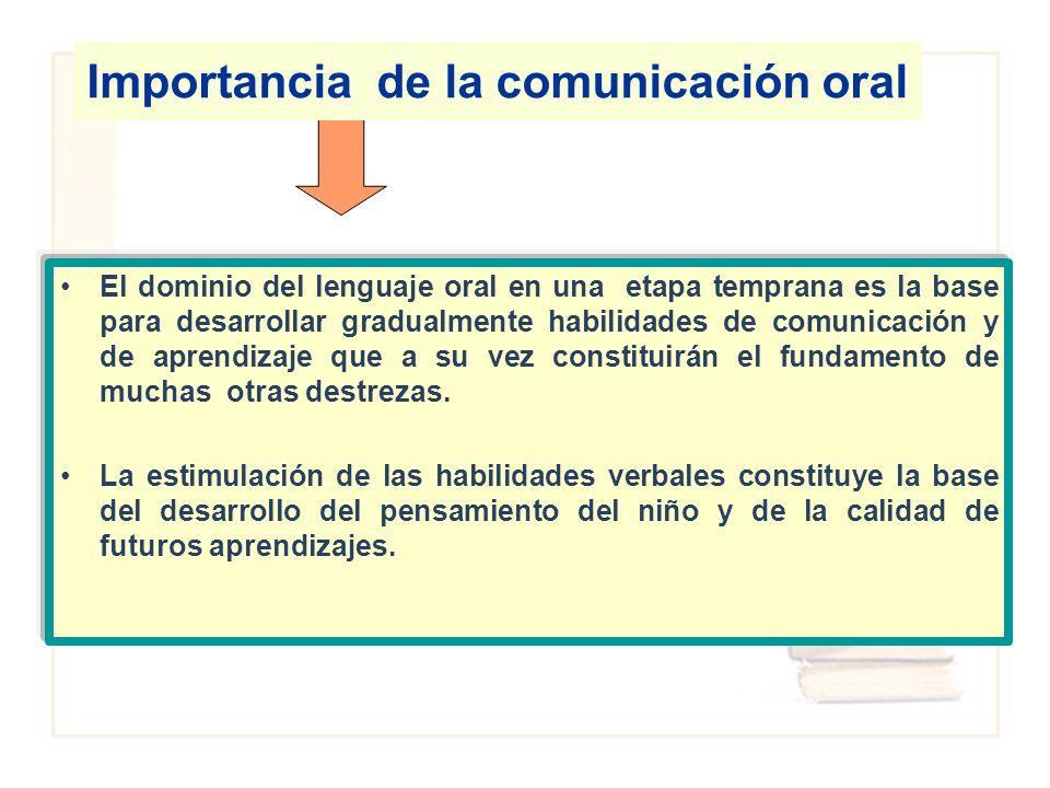 El dominio del lenguaje oral en una etapa temprana es la base para desarrollar gradualmente habilidades de comunicación y de aprendizaje que a su vez
