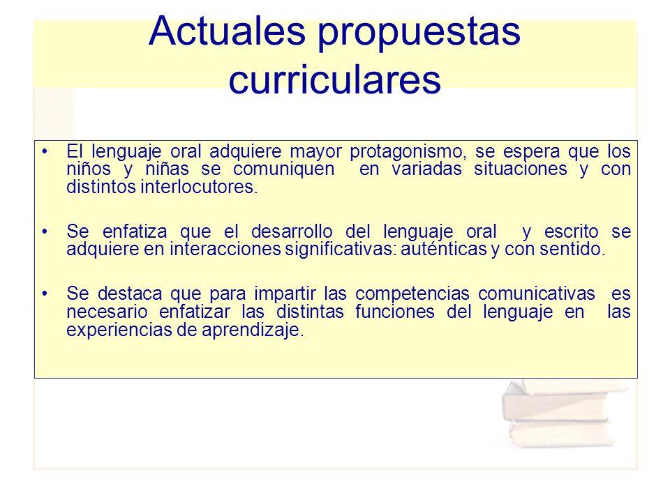 Actuales propuestas curriculares El lenguaje oral adquiere mayor protagonismo, se espera que los niños y niñas se comuniquen en variadas situaciones y