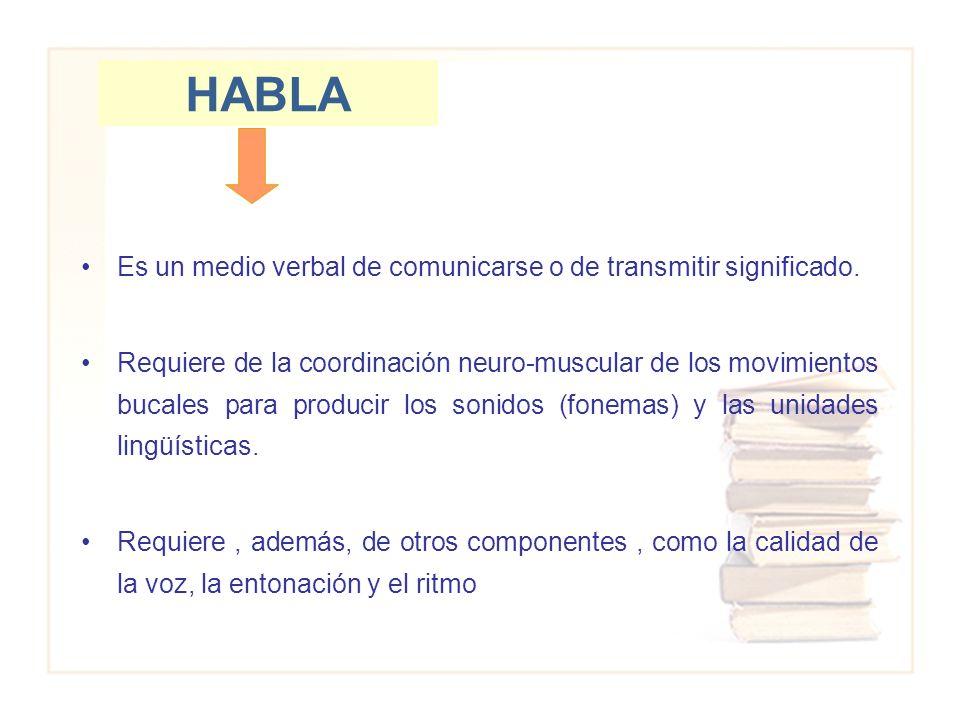 HABLA Es un medio verbal de comunicarse o de transmitir significado. Requiere de la coordinación neuro-muscular de los movimientos bucales para produc
